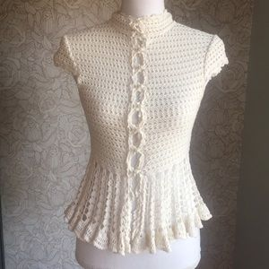 Free People button up crochet cardigan